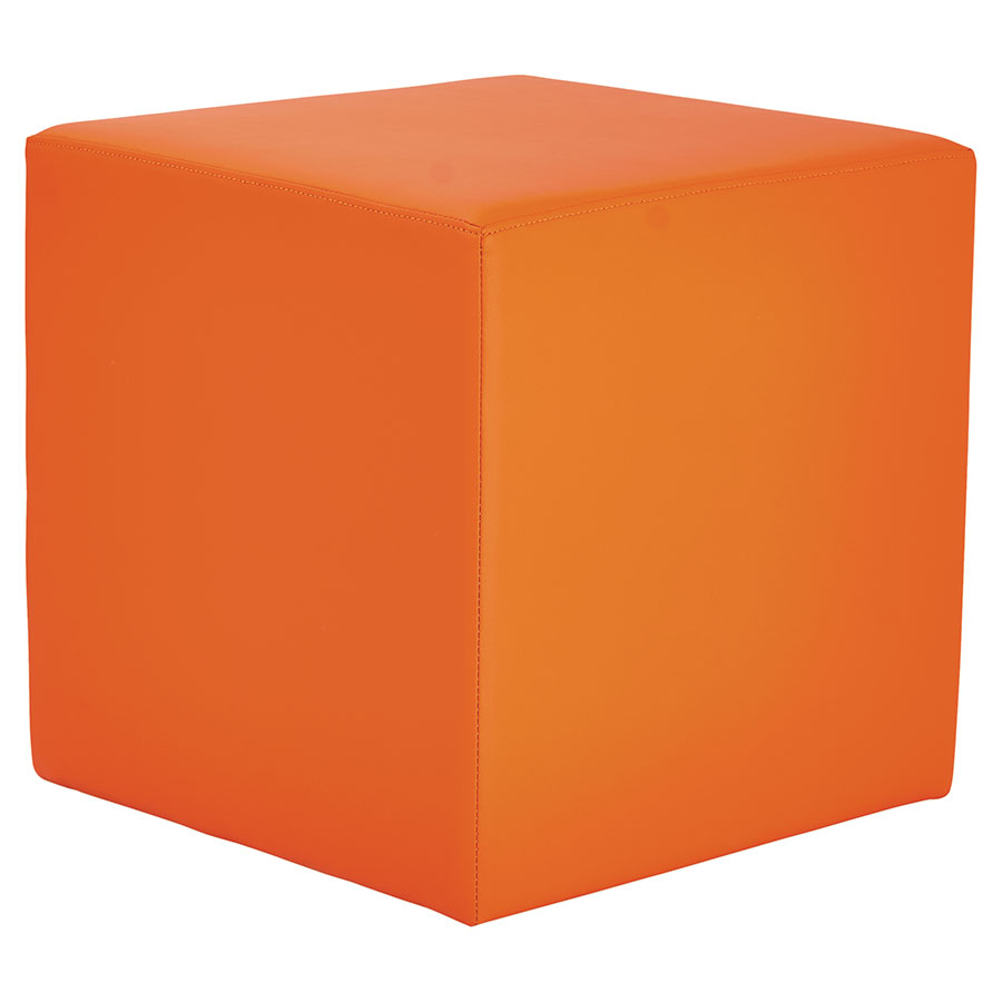 Westin Modern Cube Bench in Orange Leather