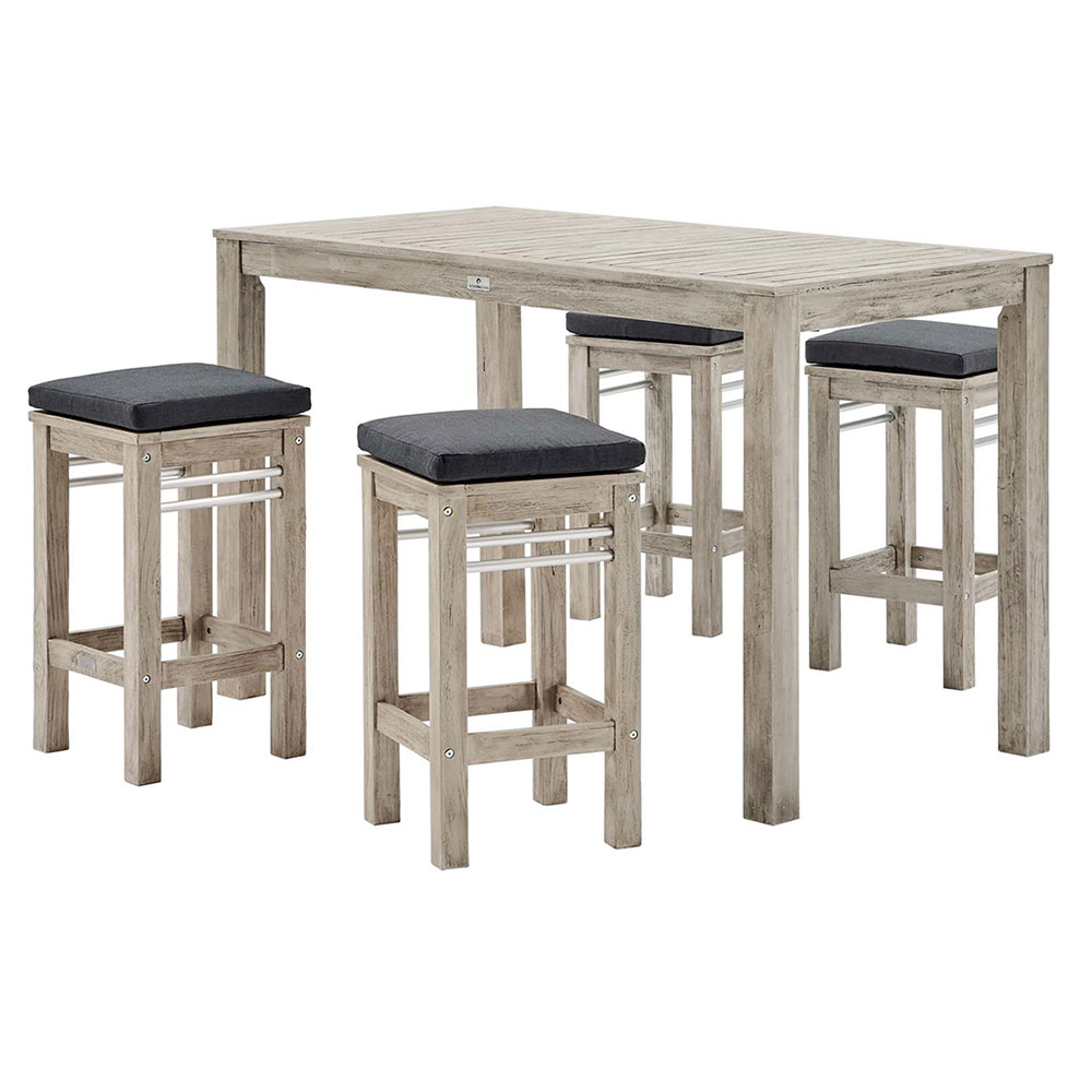 Westlake Contemporary Outdoor Bar Table and Stools Set