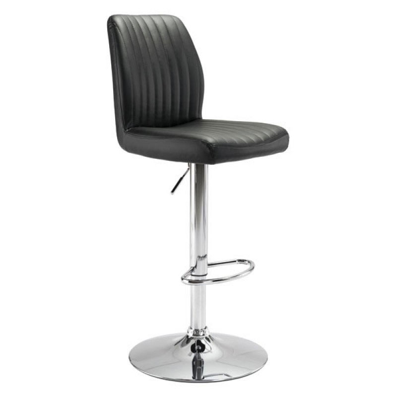William Black Leatherette + Chrome Metal Modern Adjustable Height Stool