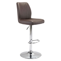 William Espresso Leatherette + Chrome Metal Modern Adjustable Height Stool