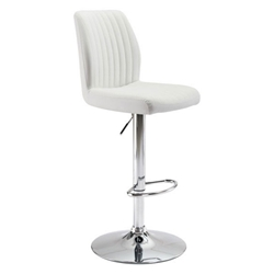 William White Faux Leather + Chrome Metal Modern Adjustable Height Stool
