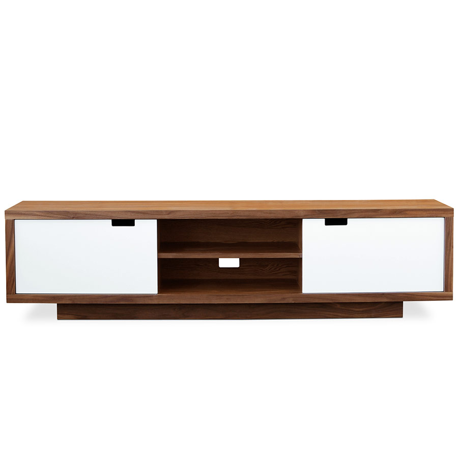 gus modern wilson media stand  eurway furniture - wilson contemporary media stand in walnut and white lacquer by gus modern