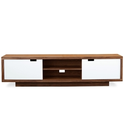 Wilson Contemporary Media Stand in Walnut and White Lacquer by Gus Modern