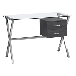 Wiltz Modern Gray, Chrome + Glass Desk w/ Drawers