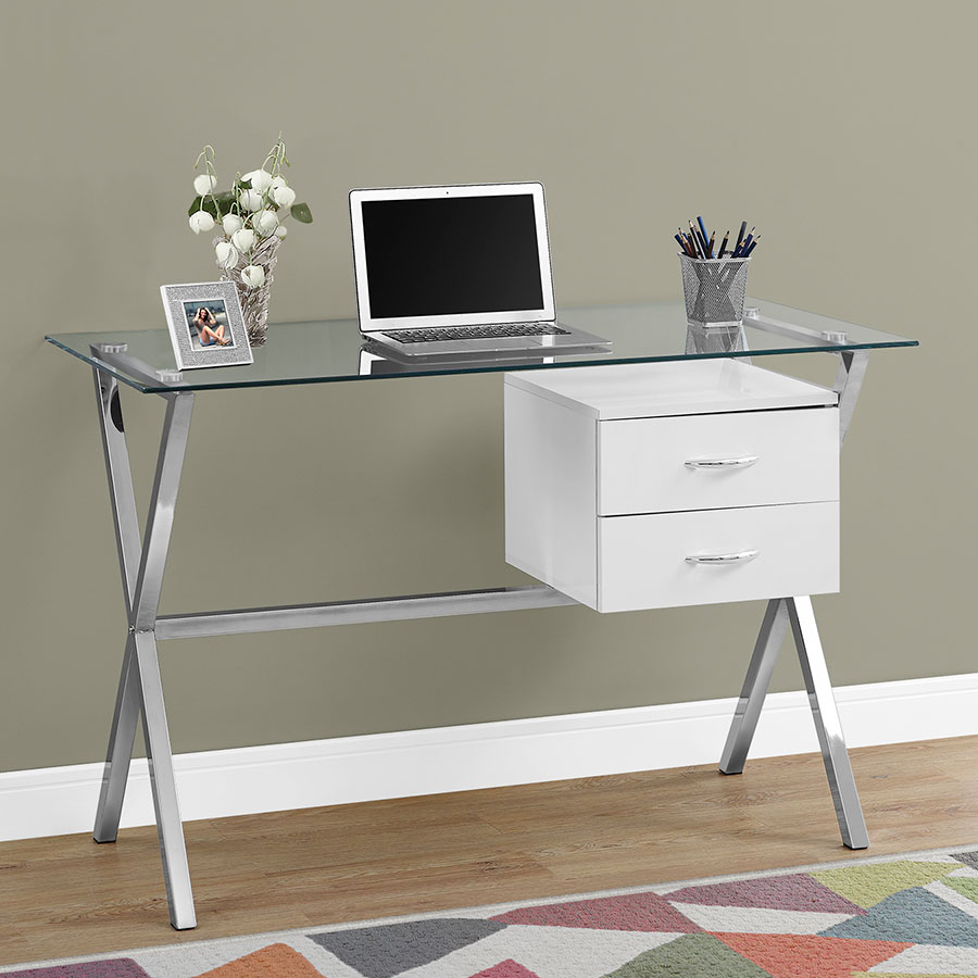 Wiltz Contemporary Computer Desk W Drawers