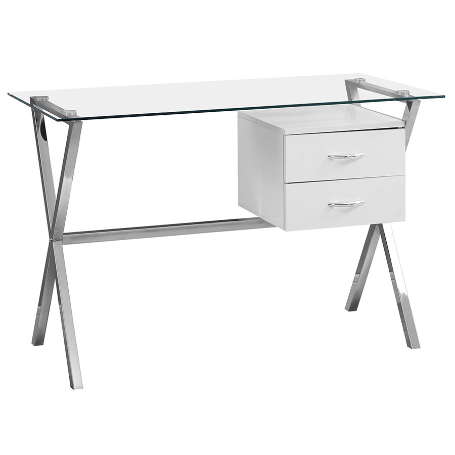 Call To Order · Wiltz Modern White, Chrome + Glass Desk W/ Drawers