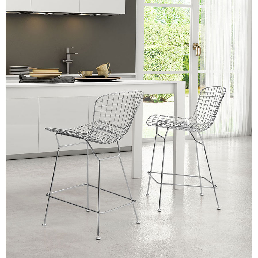 Wire Modern Chrome Counter Stool By Zuo Eurway