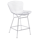 Wire Chromed Steel Modern Counter Height Mid-Back Stool