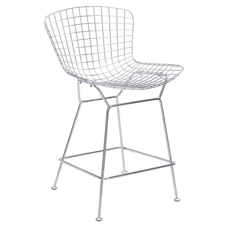 Wire Chromed Steel Modern Counter Height Mid-Back Stool  sc 1 st  Eurway & Wire Chrome Modern Counter Stool | Eurway Furniture islam-shia.org