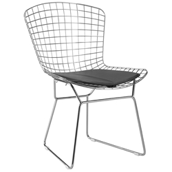 Wire Modern Chrome Dining Chair + Black Cushion