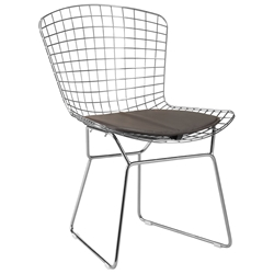 Wire Modern Chrome Dining Chair + Espresso Cushion