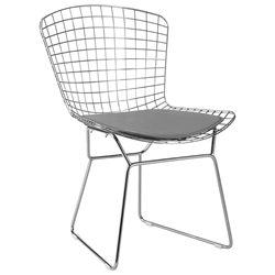 Wire Modern Chrome Dining Chair + Gray Cushion