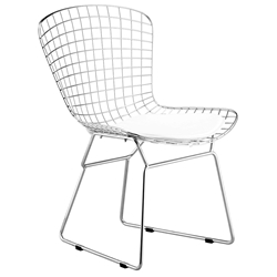 Wire Modern Chrome Dining Chair + White Cushion