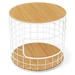 Wireframe Oak + White Contemporary End Table by Gus Modern
