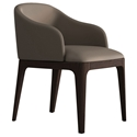 Modloft Wooster Castle Gray Faux Leather + Chocolate Walnut Modern Dining Arm Chair