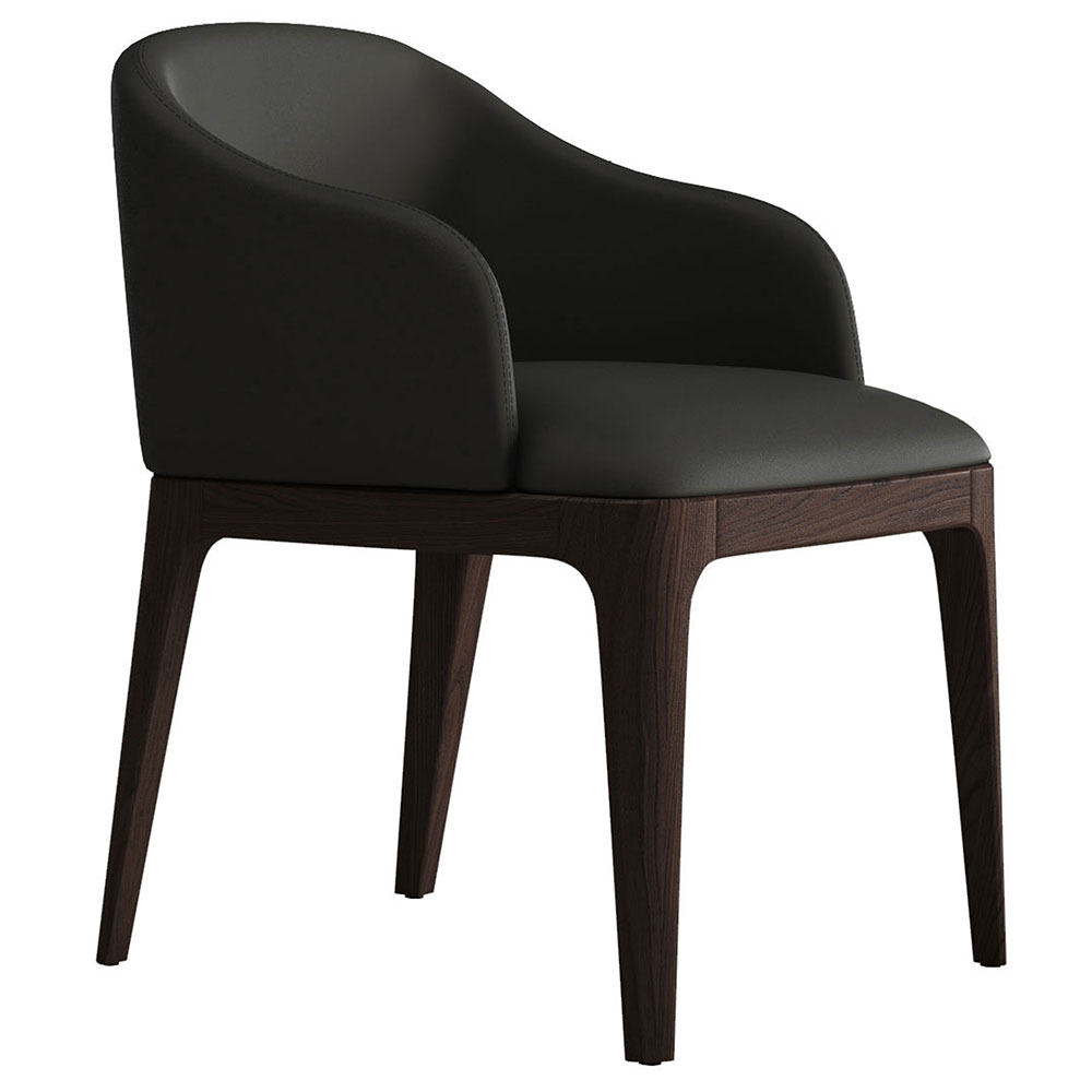 Modloft Wooster Graphite Faux Leather + Seared Ash Modern Dining Arm Chair