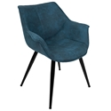 Wrestler Blue Suede-like Polyester + Black Metal Modern Accent Arm Chair