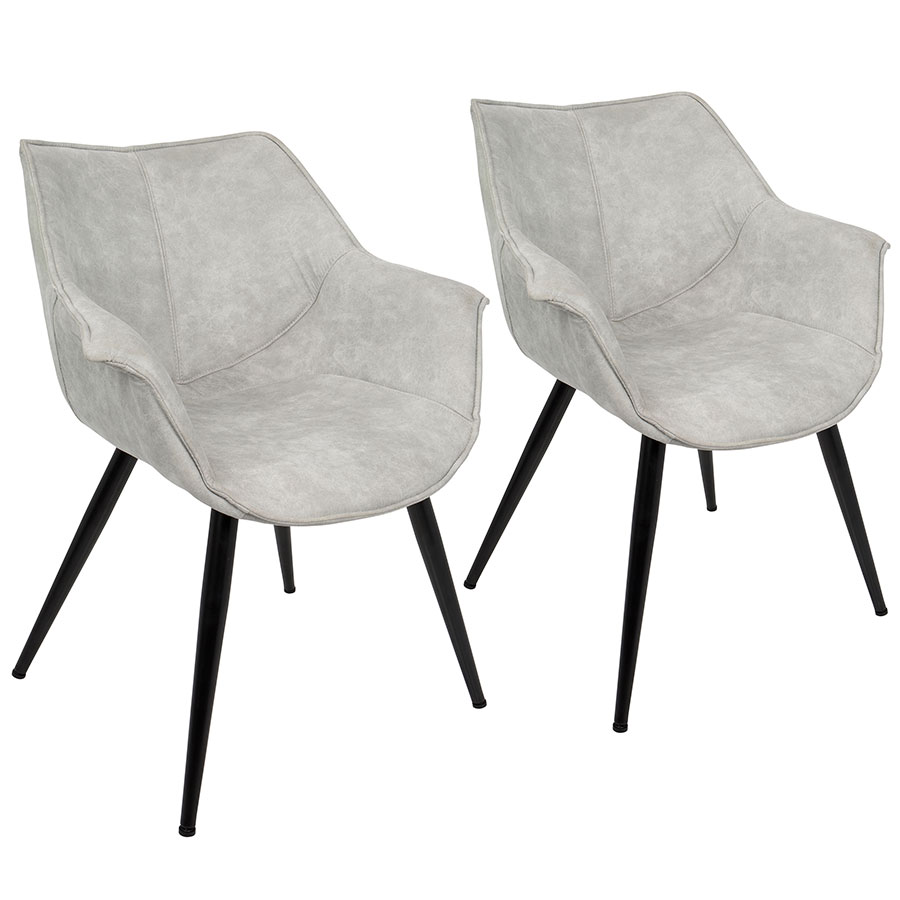 ... Wrestler Set Of 2 Gray Modern Accent Arm Chairs ...