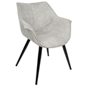 Wrestler Gray Suede-like Polyester + Black Metal Modern Accent Arm Chair