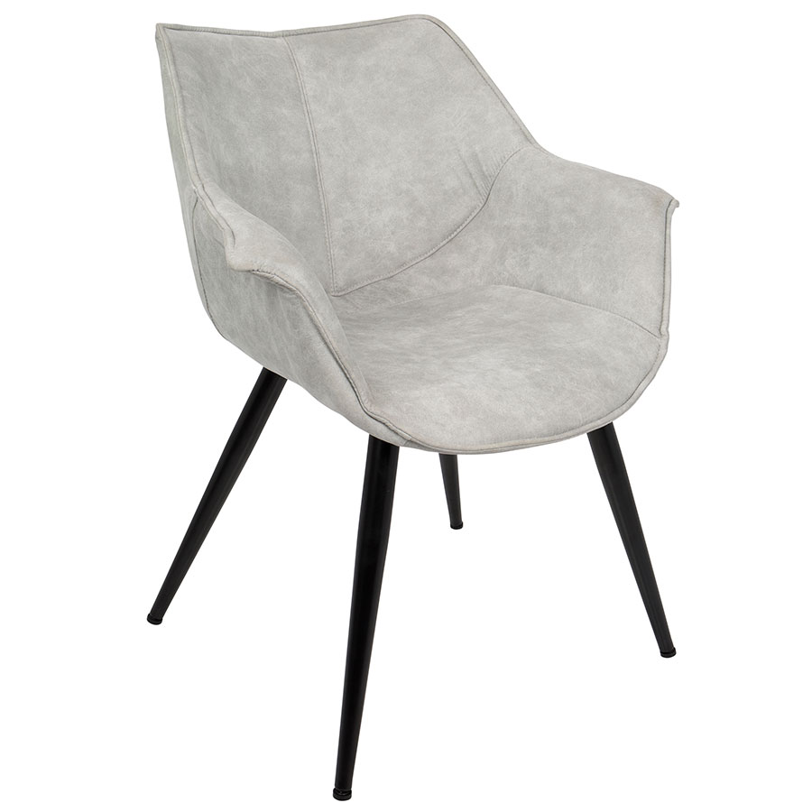 Call To Order · Wrestler Gray Suede Like Polyester + Black Metal Modern  Accent Arm Chair