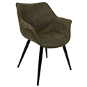 Wrestler Green Suede-like Polyester + Black Metal Modern Accent Arm Chair