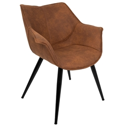 Wrestler Rust Suede-like Polyester + Black Metal Modern Accent Arm Chair