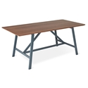 Gus* Modern Wychwood Rectangular Walnut + Gray Powder Coated Steel Contemporary Dining Table