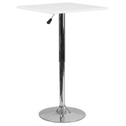 Yakima Square White Modern Adjustable Bar Table