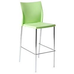 Yeva-B Modern Green + Chrome Stacking Bar Stool