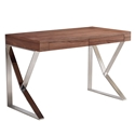 Yusef Walnut + Steel Modern Desk With Drawers
