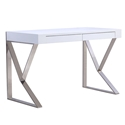 Yusef High Gloss White Lacquer + Steel Modern Desk With Drawers