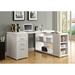 Yvonne Modern Desk With Shelving in White