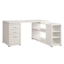 Yvonne Modern White Desk w/ Shelf + File
