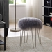 Zabel Contemporary Gray Sheepskin + Silver Stool