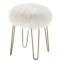 Zabel Modern White Sheepskin + Gold Ottoman