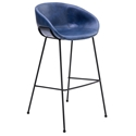Zach Dark Blue Modern Bar Stool by Euro Style