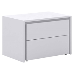 Zane High Gloss White Modern Nightstand + End Table
