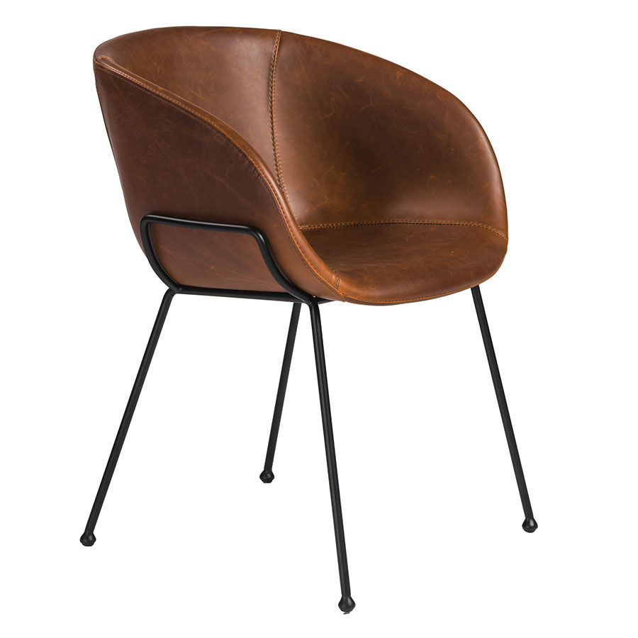 Call To Order · Zed Brown Faux Leather + Black Powder Coated Steel Modern Arm  Chair