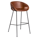 Zed Brown Faux Leather + Black Powder Coated Steel Modern Bar Stool