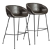 Zed Gray Faux Leather + Black Powder Coated Steel Modern Bar Stool - Set of 2