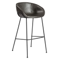Zed Gray Faux Leather + Black Powder Coated Steel Modern Bar Stool
