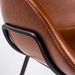 Zed Brown Faux Leather + Black Powder Coated Steel Modern Counter Stool - Seat Back Detail