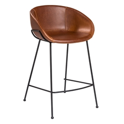 Zed Brown Faux Leather + Black Powder Coated Steel Modern Counter Stool