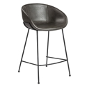 Zed Gray Faux Leather + Black Powder Coated Steel Modern Counter Stool