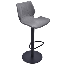 Zeller Gray + Black Steel Modern Adjustable Stool