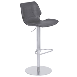 Zeller Gray + Brushed Steel Modern Adjustable Stool
