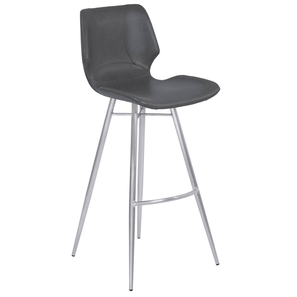 Zena Gray + Brushed Steel Modern Counter Stool
