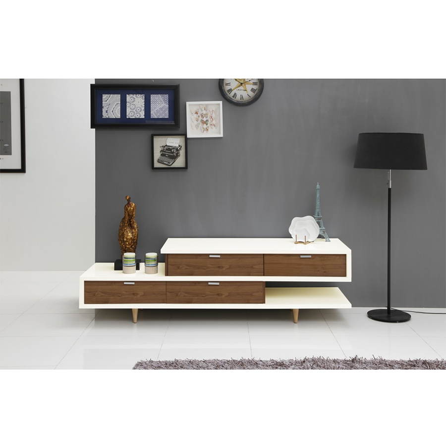 zick zack white  walnut modern tv stand. zick zack modern white tv stand  eurway furniture