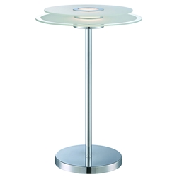 Zivo Chrome + Frosted Glass Modern LED Table Lamp