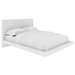 Zlatan White Leatherette Woven Headboard Contemporary Bed
